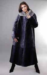 Шуба мутон («Русский мех»),  длинная,  светло-коричневая